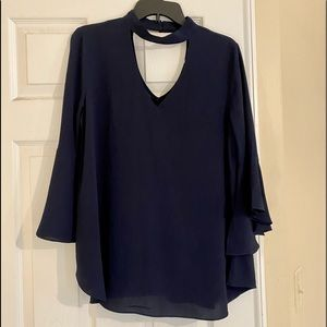 Navy choker swing top with bell sleeves